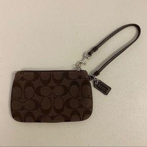 Coach Signature Wristlet Wallet - Chocolate Brown